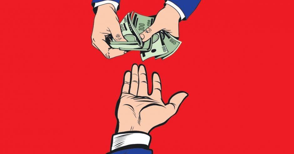 dibujo de manos con billetes y otra mano extendida, detrás fondo rojo