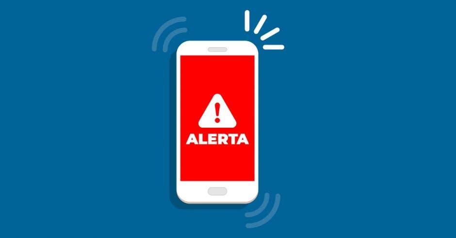 Celular con señal de alerta