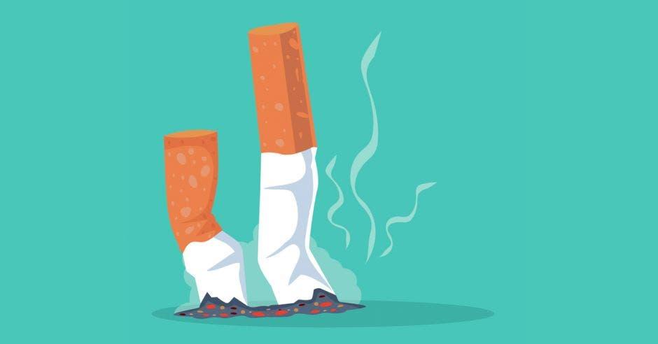 una colilla de cigarro apagada