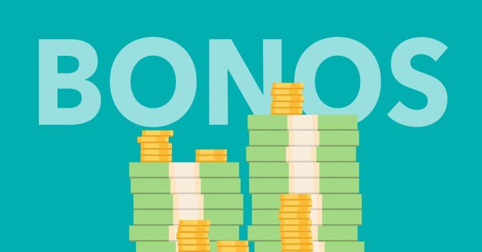Billete y monedas frente a letras que dice bonos