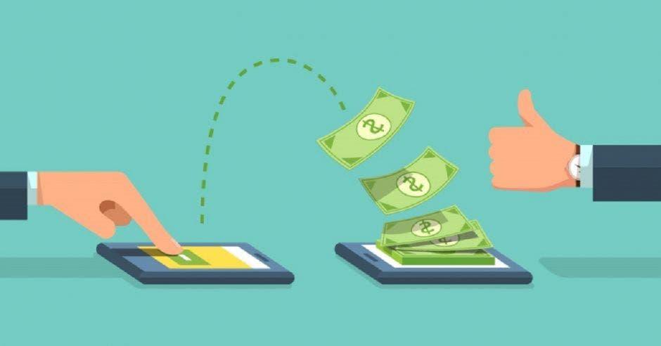 Mano de persona pasa dinero a otro celular