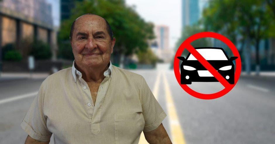 un hombre de avanzada edad sobre un fondo de vehículos en medio de un círculo rojo