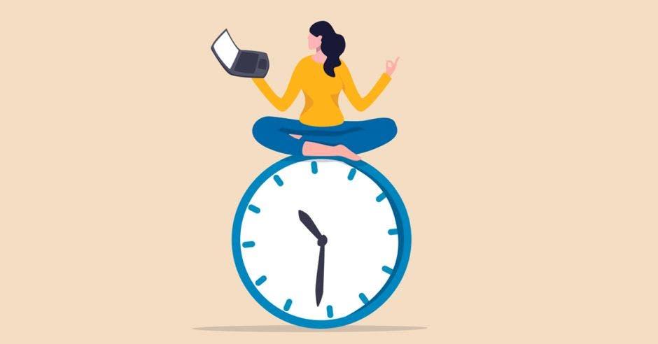 dibujo de mujer sentada sobre reloj mientras trabaja