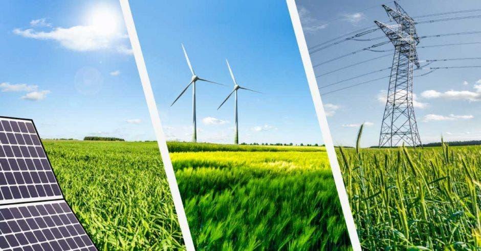 tres fuentes de energía distintas: solar, viento, y una torre eléctrica