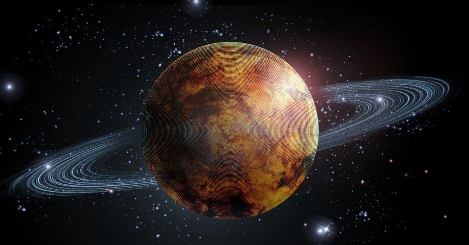 Sistema solar y el planeta Saturno con estrellas en fondo de ilustración 3D
