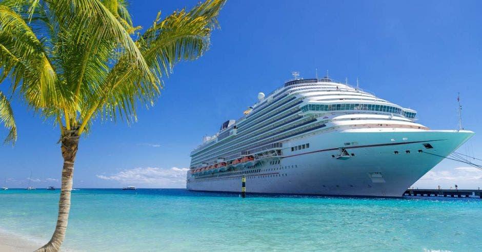 un crucero color blanco en altamar