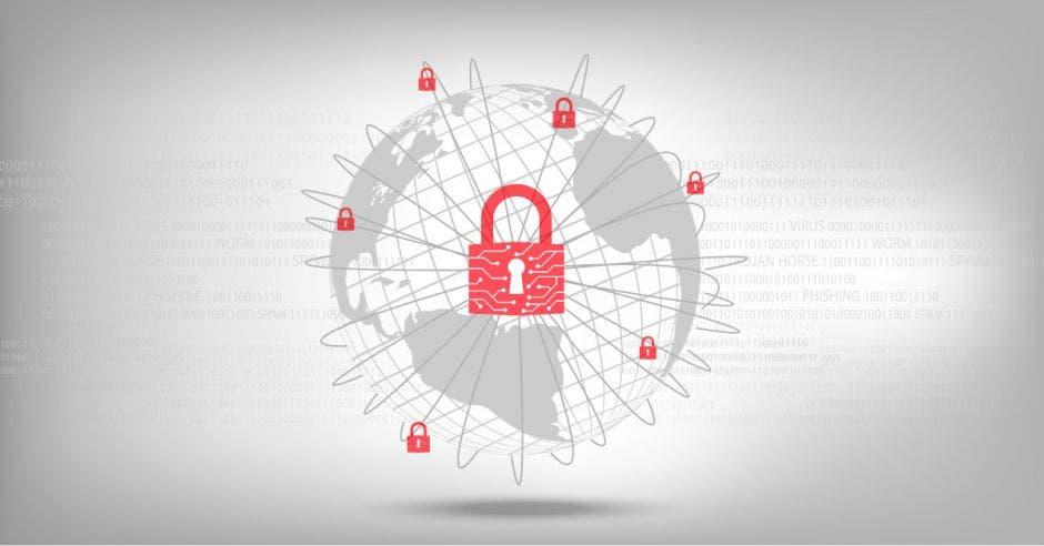 un candado junto a un logo de un planeta. Concepto de ciberseguridad.