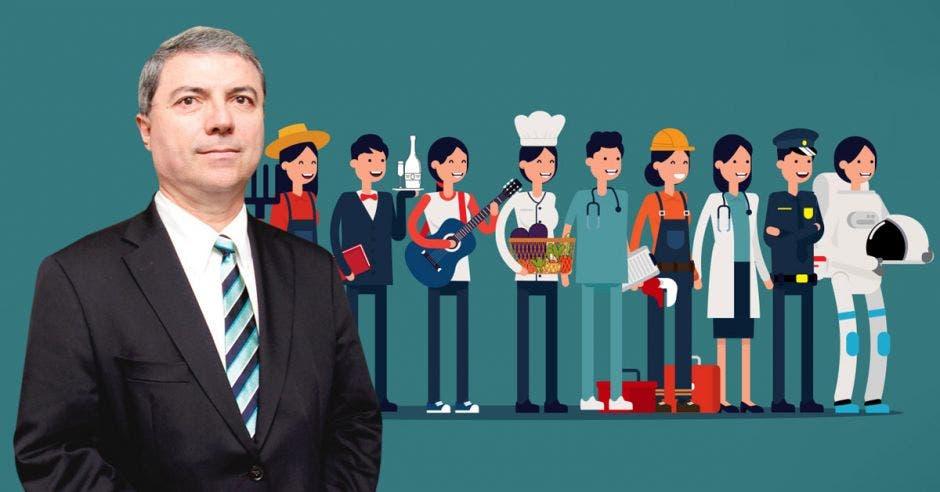 Hombre de traje frente a fila de mujeres en distintas profesiones