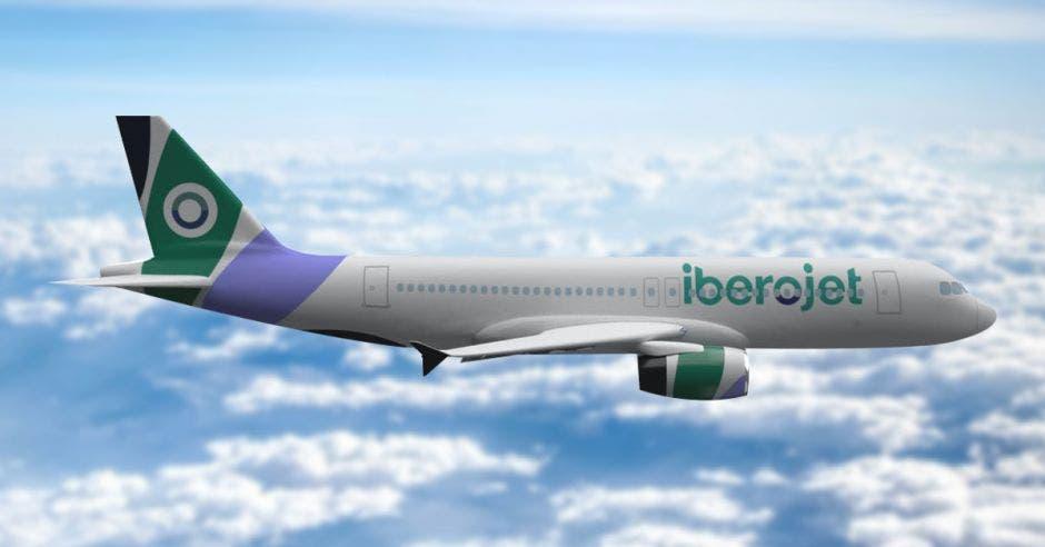 un avión blanco con ribetes en color verde