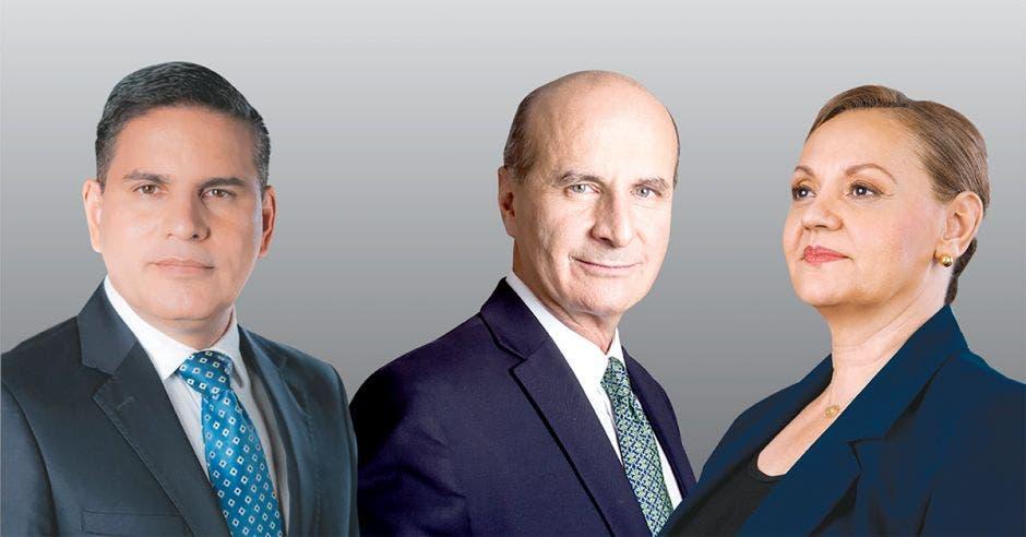 Fabricio Alvarado de Nueva República, José María Figueres del PLN y Lineth Saborío del PUSC, lideran la intención de voto. Archivo/La República.