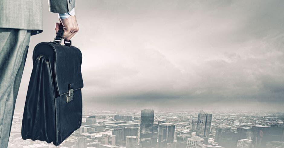 Empresario con portafolio ante panorama gris