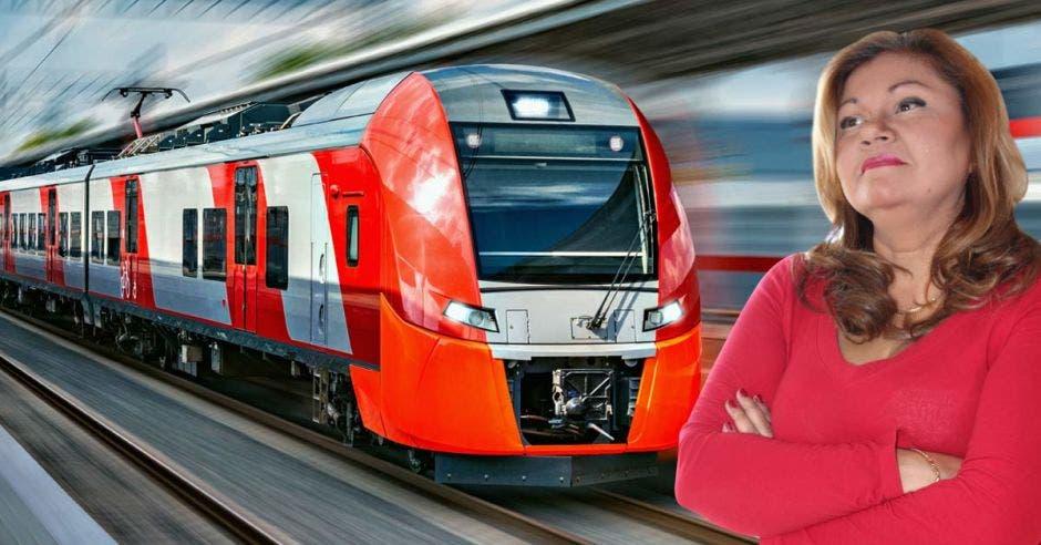 una mujer de vestido rojo frente a un tren rojo de fondo en manera ilustrativa