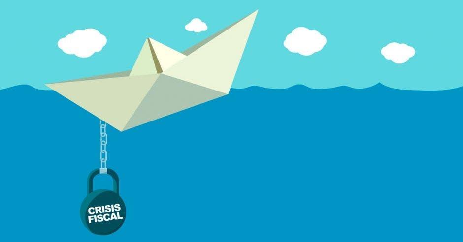 Barco de papel con bola llamada crisis fiscal trayendo abajo