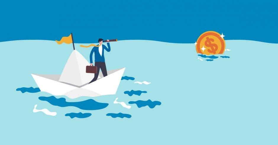 un hombre en un barco de papel navega el mar. A la distancia se ve un centavo de oro.
