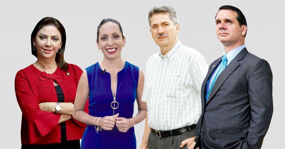 Marcia González, Carolina Hidalgo, Welmer Ramos y Hernán Solano son los precandidatos del PAC. Archivo/La República.