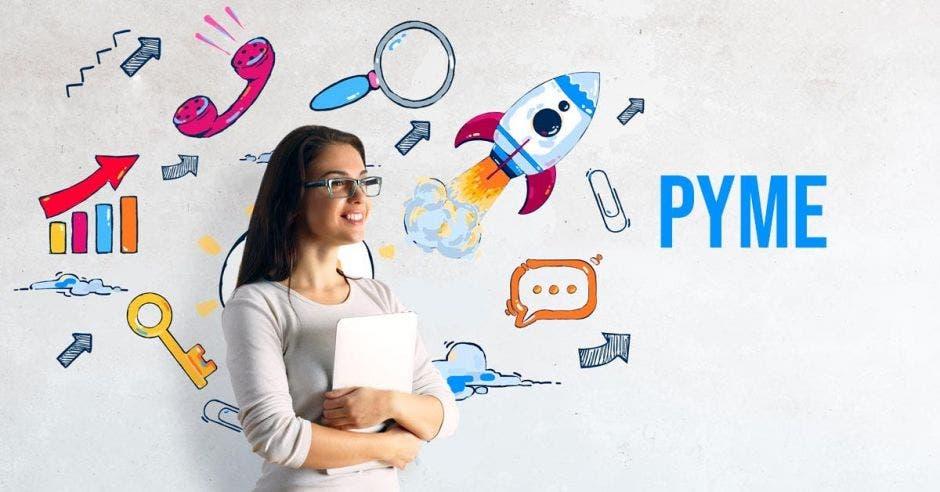 Mujer de lentes frente a dibujos y palabra pyme