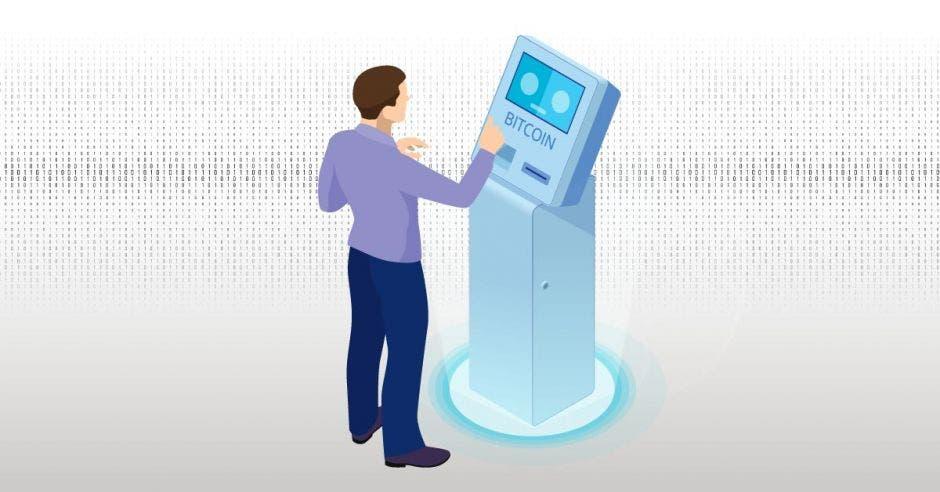 un hombre usando un cajero de bitcoin