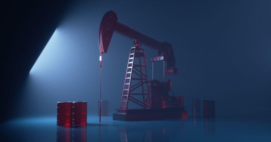 concepto de fracking. Una máquina extrae petróleo del suelo.