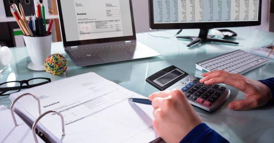 Persona con calculadora y portafolio