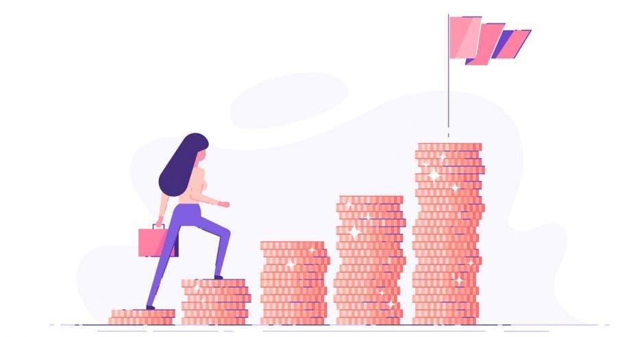 animación de una joven escalando torres de monedas