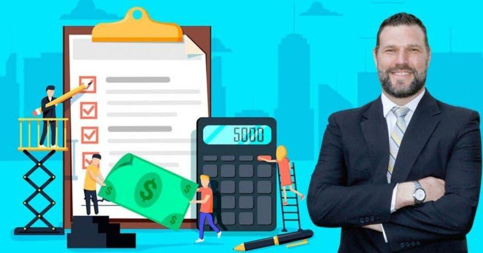 Hombre de traje frente a dibujos de personas con billetes, contrato y calculadora