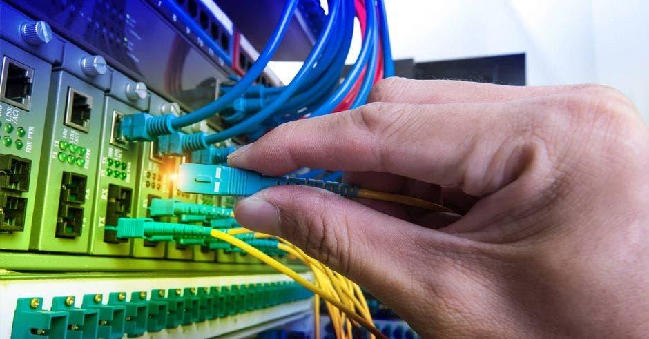 Persona colocando cable de Internet