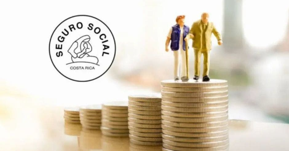 dos muñecos simulando adultos mayores encima de un puño de monedas