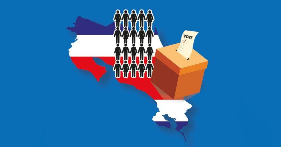 El mapa de Costa Rica, una urna para votar y 20 figuras que simulan candidatos presidenciales-