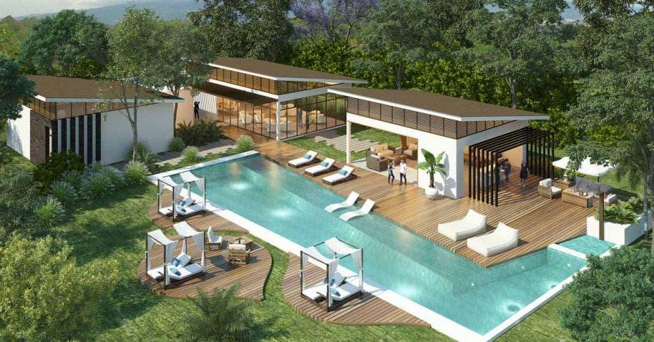 Render del área de casa club y piscina de Hacienda Peraz