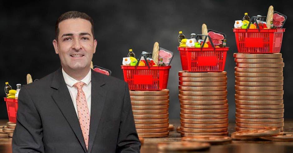 Hombre de traje frente a monedas y comida en canastas