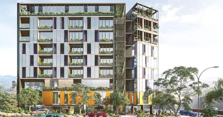 Edificio DEN7 con plantas naturales externas