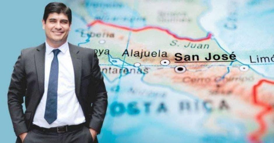 Carlos Alvarado y mapa de Costa Rica