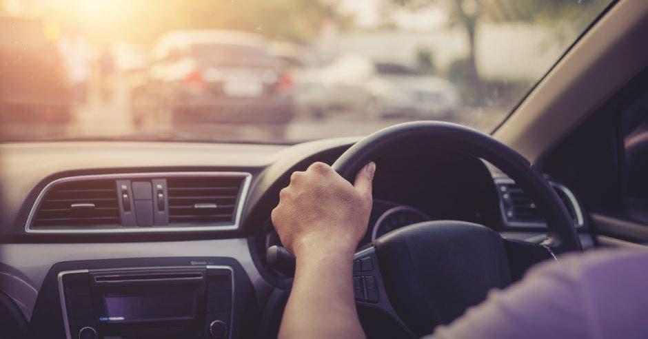 Hombre al volante en una tarde soleada