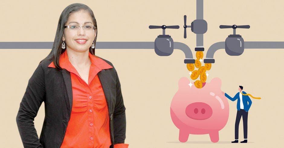 Mujer de rojo frente a dibujo de empresario añadiendo monedas en alcancía de cerdo desde múltiples grifos