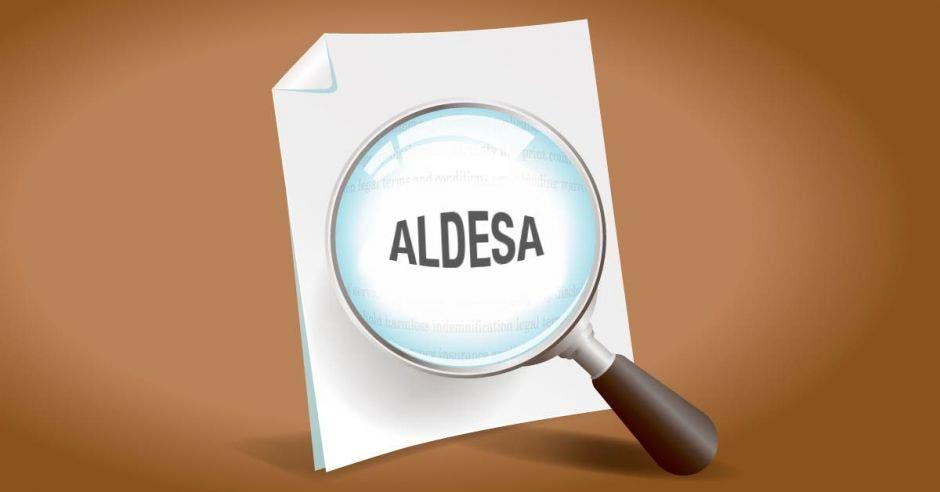 Lupa sobre papel que dice Aldesa