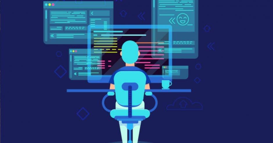 dibujo de persona tomando clases frente a computadora