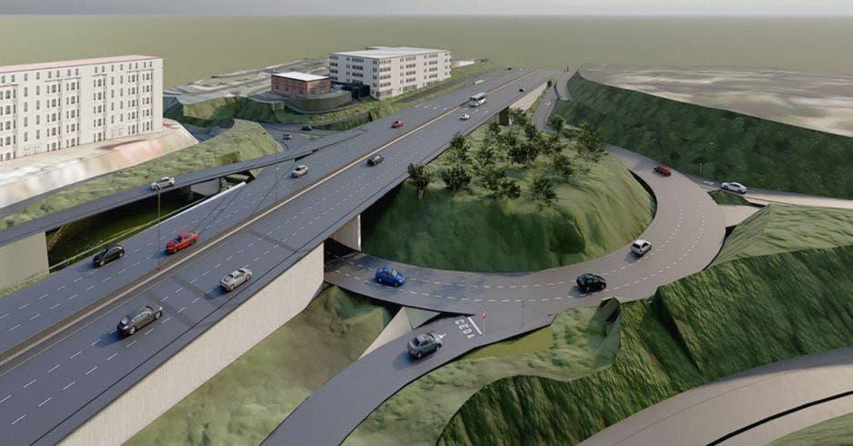 Render de cómo quedaría la ruta 27 con la ampliación a la altura del ingreso a Trejos Montealegre
