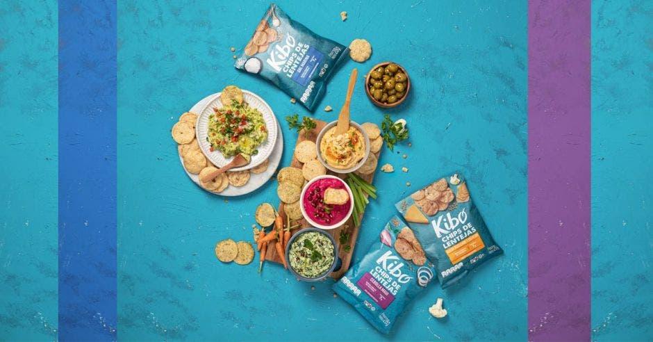 bolsas de chips de lenteja de la marca Pozuelo