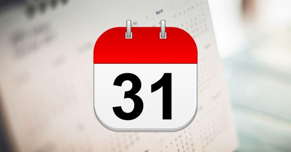 Un almanaque que marca el día 31