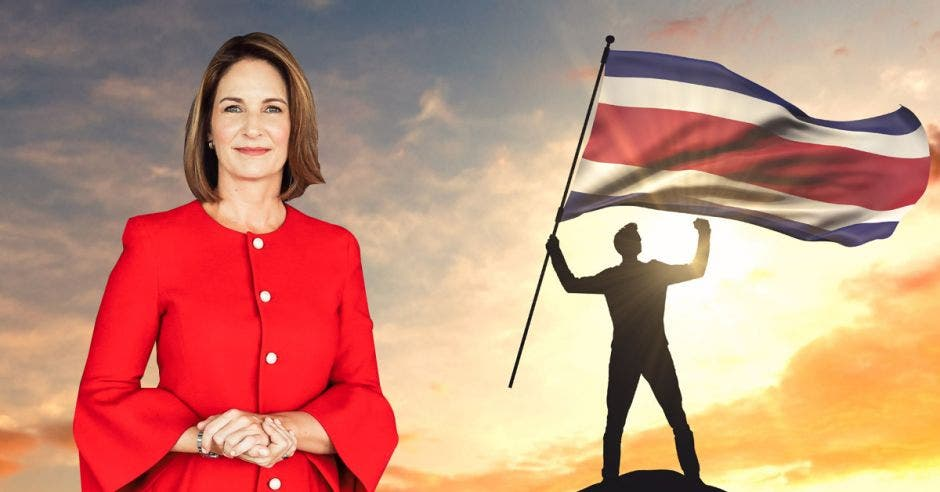 Mujer de rojo frente a hombre con bandera