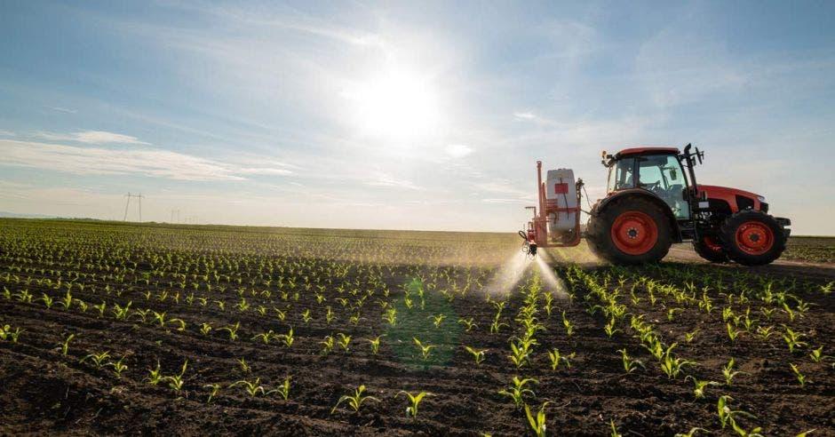 Tractor trabajando en un campo sembrado