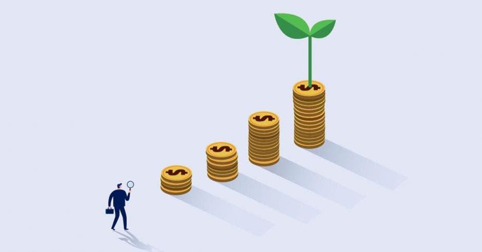 Empresario ve monedas creciend