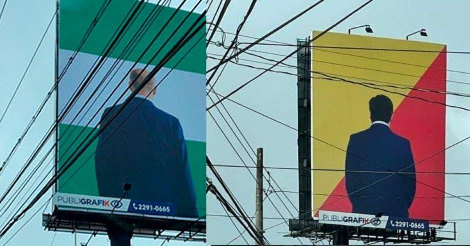 En la publicidad se ven imágenes del mandatario y de José María Figures, candidato del PLN, de espaldas, a la vez que se identifican claramente las banderas políticas del PAC y de Liberación Nacional. Cortesía/La República.