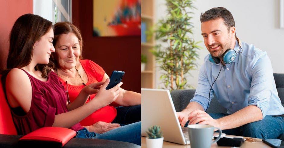 Hombre en computadora y dos mujeres viendo celular