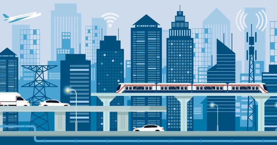 Un dibujo que ilustra carreteras, aeropuertos, trenes edificios, infraestructura de telecomunicaciones, entre otros