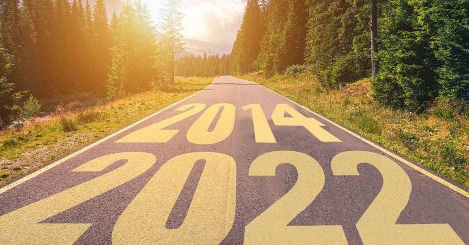 Un arte con una carretera con las fechas 2014 arriba y 2022 abajo
