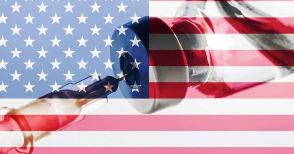 bandera de Estados Unidos y una dosis contra la Covid-19