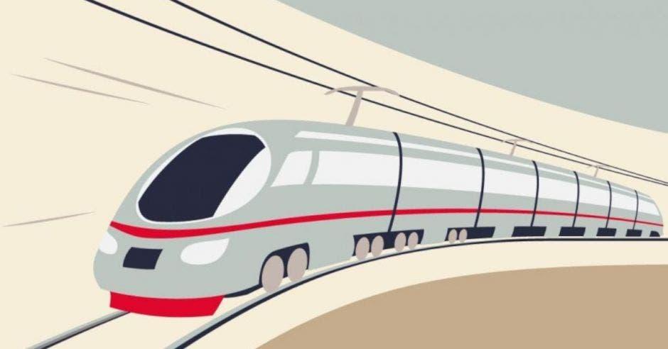 Un dibujo de un tren gris, bajo un fondo amarillo