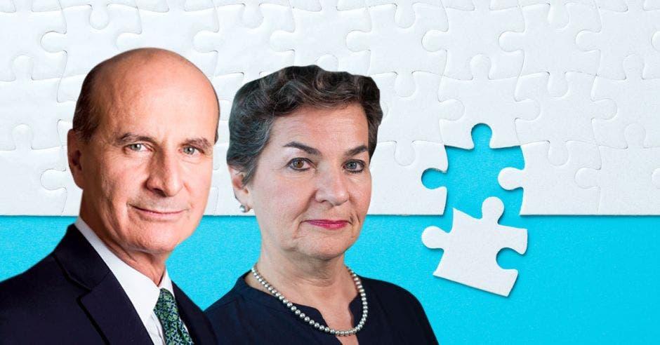 José María Figueres, candidato del PLN y su hermana Christiana, mantienen una disputa por la herencia familiar. Elaboración propia/La República.