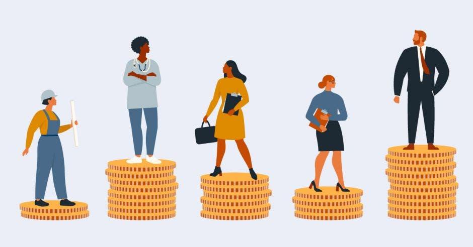 Personas en dibujo sobre monedas